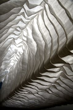 Textiles Design with sculptural pleating and rippling textures for a delicate ethereal vibe; fabric manipulation // Otaku