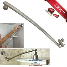 brushed nickel rain shower arm brass adjustable pipe extension bathroom 18 inch - Shower Arm Extension