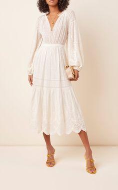 Bettina Cotton Eyelet Dress by Ulla Johnson Modest Dresses, Cute Dresses, Vintage Dresses, Casual Dresses, Dresses With Sleeves, Midi Dresses, White Dress With Sleeves, Picnic Outfits, Dress Outfits