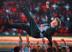 Realistic acrylic painting of the Dutch football manager and former player Guus Hiddink, painted by the dutch fine artist Paul Meijering - The Original painting is at the Korean Ambassy in The Hague