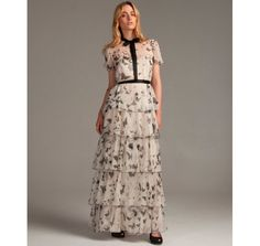 D cream butterfly print silk chiffon tiered maxi dress