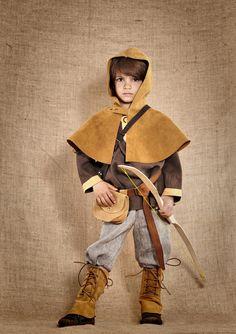 Costume de Robin Hood, archer médiéval pour garçons de 4 à 12ans