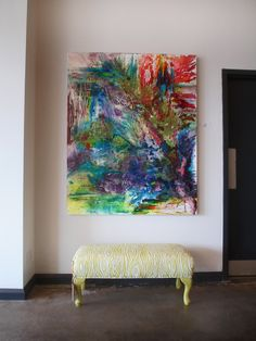 Stunning abstract painting with an explosion of colour and glossy texture by @Andrea / FICTILIS / FICTILIS Rinaldo ($2000). Ottoman in Willow fabric by @Andrea / FICTILIS / FICTILIS Ford  ($550).