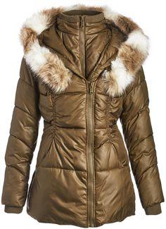Olive Two-Tone Faux Fur-Trim Puffer Coat