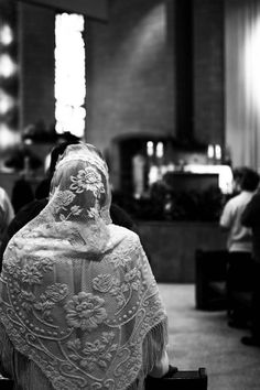 Elegant chapel veil. A way to show reverence at Mass.
