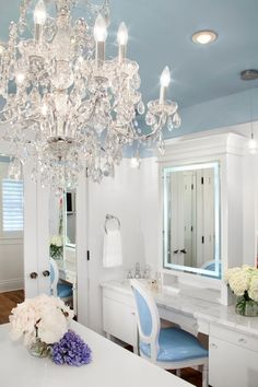 Jodi Foster - closets - blue ceiling, blue painted ceiling, recessed lighting, pot lights, closet chandelier, crystal chandelier, ornate cry...