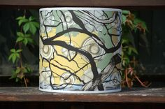 'Branches' Large bespoke light shade, D x H by Rachel Reynolds Southampton England, Rachel Reynolds, Interior Wallpaper, Light Shades, Textile Design, Branches, Drum, Bespoke, Screen Printing
