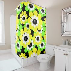 #Yellow green flowers shower curtain - #Bathroom #Accessories #home #living