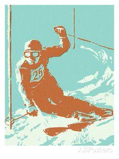 Downhill Skier Plakater av Pop Ink - CSA Images hos AllPosters.no
