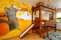 Awesome Dad Builds Son a Calvin and Hobbes-Themed Nursery with a Tree Fort Bed