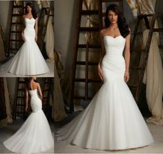 New White/ivory Mermaid Wedding Dress Bridal Gown stock size 6-8-10-12-14-16