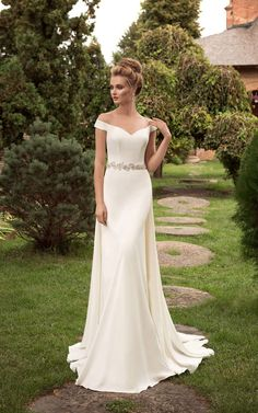 US$$119.88 - Off the Shoulder Sheath Wedding Dress with Crystal Detailing. www.doriswedding..... Gorgeous off the shoulder wedding dresses, long sleeve wedding dresses, ball gown wedding dresses are waiting to be discovered at www.doriswedding.com with affordable prices. #DorisWedding.com