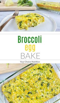 This cheesy broccoli egg bake is gluten-free and vegetarian and makes for a delicious, nutritious and easy breakfast. | recipe via www.yourchoicenutrition.com