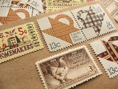 Quilts .. UNused Vintage Postage Stamps .. post 5 by VerdeStudio