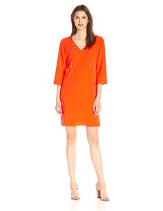 Donna Ricco Women's 3/4 Sleeve Solid Sheath with Gold Rope On Neck