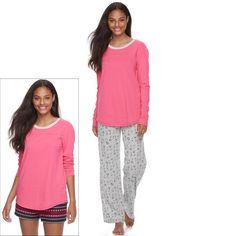 Juniors' SO® Pajamas: Knit Pants, Shorts & Top 3-Piece PJ Set, Teens, Size: Xs Short, Light Grey