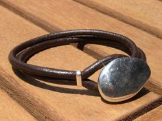 women brown leather bracelet and silver plated clasp by kekugi, $26.00