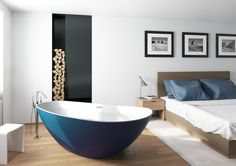 Solid surface stand alone bath with painted outside. - Granada