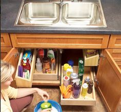 Build & install under sink pull out drawers with this tutorial. AND 45 of the BEST Home Organizational & Household Tips, Tricks & Tutorials with their links!! Party and event prep, too! from MrsPollyRogers.com