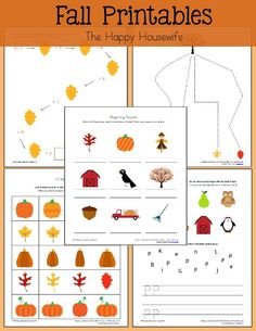 Fun free fall themed printable worksheets. Perfect for autumn, halloween, Thanksgiving, studying pumpkins and more.