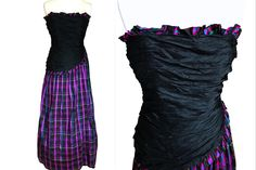 Jean Allen Silk Tartan Plaid Ball Gown, Strapless Frill Ruched Bodice Purple Check Wedding Mardi Gras Carnival Steampunk Dress XXS Source by holycatsvintagestore gras Ball gowns Tartan Dress, Tartan Plaid, Silk Dress, Bodice Top, Lace Bodice, Ball Dresses, Ball Gowns, Shabby Chic Design, Mardi Gras Carnival