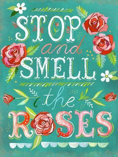 Stop and Smell the Roses by Katie Daisy Painting Print on Wrapped Canvas