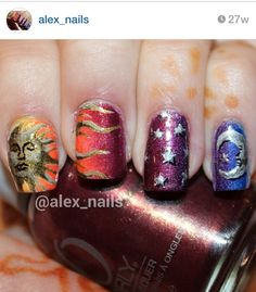 Holographic gradient sun and moon nails