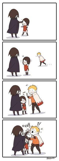 How Sasuke treats Sarada VS how Sasuke treats Naruto Naruto Comic, Naruto Shippuden Sasuke, Anime Naruto, Naruto Sasuke Sakura, Naruto Cute, Sarada Uchiha, Gaara, Kakashi, Hinata
