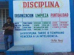 ¿Disciplina? Organización, limpieza y puntualidad.