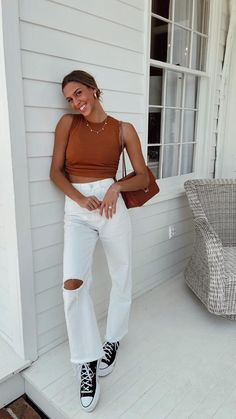 Trendy Fall Outfits, Cute Comfy Outfits, Fall Fashion Outfits, Fall Winter Outfits, Autumn Fashion, Summer Outfits, Day Outfits, Aesthetic Clothes, White Leggings Outfit