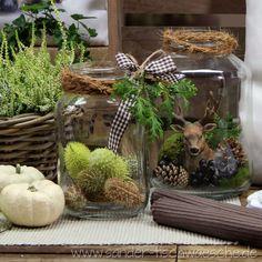 Herbstlich dekorierte Weckgläser. Tischsets zu bestellen bei sander-tischwaesche.de