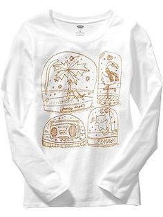 Girls Long-Sleeved Glitter-Graphic Tees | Old Navy