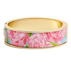Lilly Pulitzer 'Boca' Print Bangle ($48) ❤ liked on Polyvore featuring jewelry, bracelets, pink, hinged bracelet, lilly pulitzer, bangle charms, bracelet bangle and bracelets & bangles