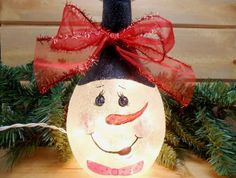 Lighted Wine Bottle Santa Claus White Frosted by PaintingByElaine