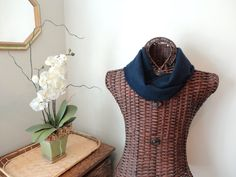 Infinity Scarf NAVY BLUE Scarf Upcycled Cashmere Infinity Scarf Nautical Navy Blue by WormeWoole