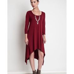 """""""Lover's Call"""" Asymmetrical Midi Dress Asymmetrical hem midi dress. Available in black and burgundy. This listing is for the BURGUNDY. Brand new. True to size. ABSOLUTELY NO TRADES. Bare Anthology Dresses Midi"""