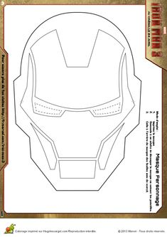 Le masque d'Iron Man reproduit en dessin, à colorier