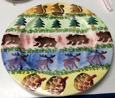 Zrike Italy Cabin Fever Charger Platter Wildlife Bears Moose Squirrels Pine Tree #Zrike