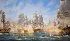 For Sale on - Victory at Sea: The Battle of Trafalgar, Oil Paint by Patrick O'Brien. Offered by The Englishman Fine Art. Large Painting, Texture Painting, Figure Painting, Oil Painting On Canvas, Painting Frames, Sunrise Landscape, Landscape Art, Landscape Paintings, Ship Paintings