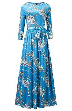 7f54569a17c Engood Womens Elegant O-Neck Floral Printed Full Sleeves Maxi Long Vintage  Dress at Amazon Women s Clothing store