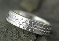 Patterned Thick Sterling Silver Ring Band Made to by Specimental, $135.00