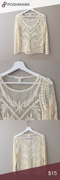 """Embroidered Cream Lace Top Embroidered Cream Lace Top - new with tags. So cute with jeans and heels for a spring/ summer night out!  Measurements: Length: 23"""" (shoulder to hem) Width: 17.5"""" (bust) Sleeve length: 23"""" Forever 21 Tops Blouses"""