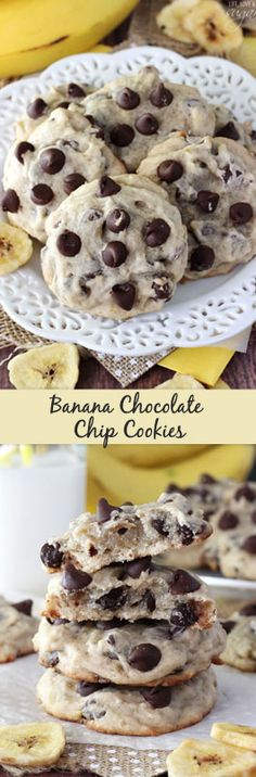 Chocolate Chip Cookies Banana Chocolate Chip Cookies - dense, moist and chewy cookies full of banana and chocolate chips! Not at all cakey!Banana Chocolate Chip Cookies - dense, moist and chewy cookies full of banana and chocolate chips! Not at all cakey! Healthy Desserts, Just Desserts, Delicious Desserts, Yummy Food, Banana Chocolate Chip Cookies, Chocolate Chips, Cake Chocolate, Chocolate Desserts, Chocolate Covered