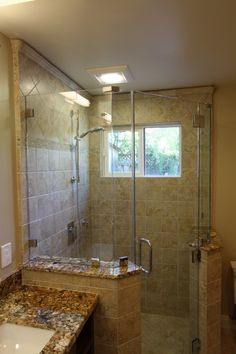 corner shower - pony walls on each side - tile up the entire wall, with a crown moulding