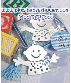 Recuerdos para Baby Shower - Separadores Bebé Azul - Disponible en www.pkts-babyshower.com