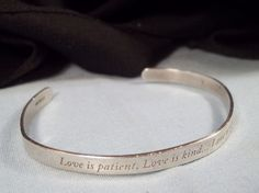 Sterling Silver Open Bangle Bracelet Love is Patient Kind Never Ends Engraved #Cuff