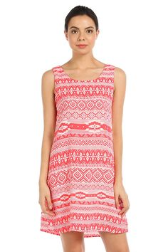 ETHNIC PRINT CUT-OUT BACK SHIFT DRESS-Red