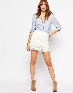 Pepe+Jeans+Fringe+Leather+Look+Mini+Skirt