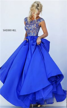 Sherri Hill 32359 Cap Sleeves Beaded V-Back Long Royal Prom Dresses 2016