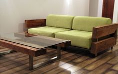 reclaimed wood couch and coffee table by ticino design